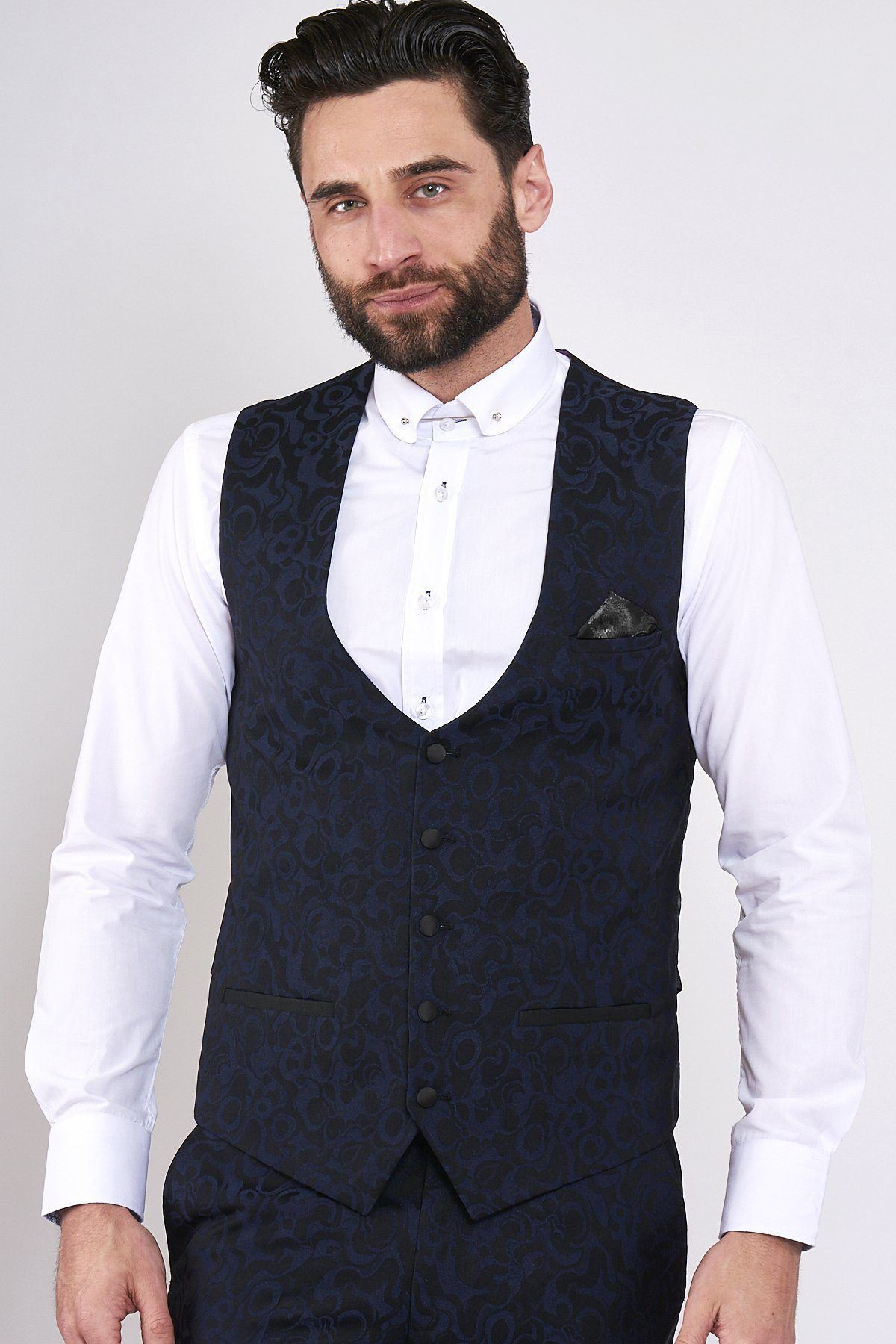 Mens Marc Darcy Grey Waistcoat Single Breasted Slim Tailored Formal Vest