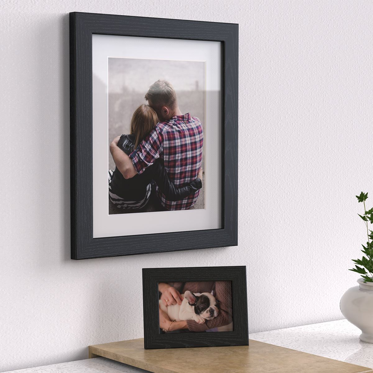 Photo Frames With White Mounts Black White Oak Silver Picture Frame ...