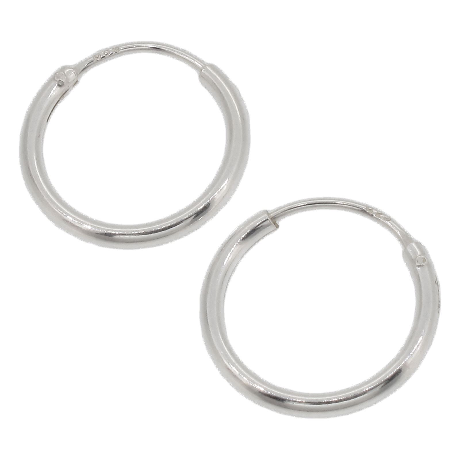 f2937c0c5 Details about Sterling Silver 12mm Hoop Earrings - PAIR - Small Hoops /  Basic Sleepers - 925