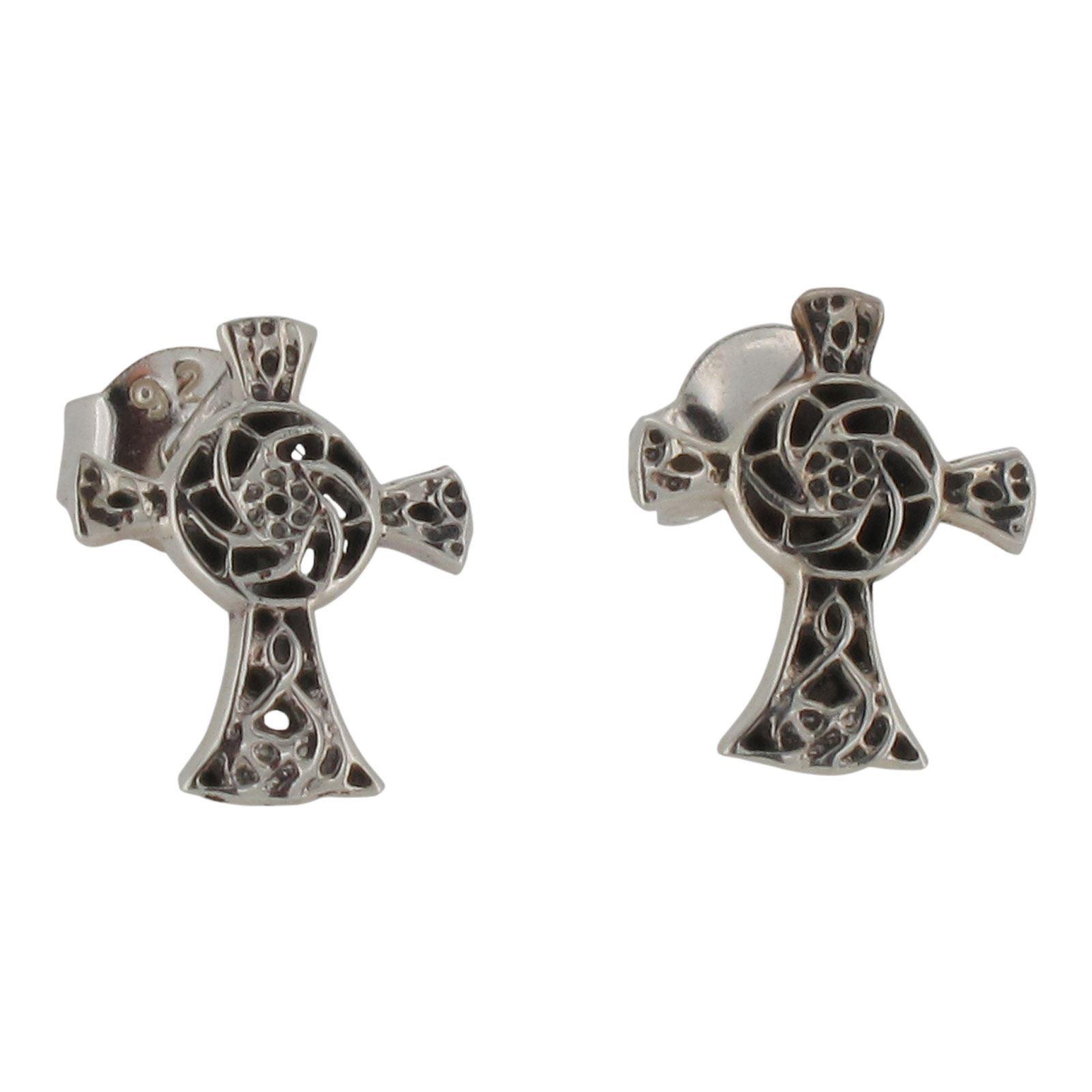 Sterling Silver Celtic Cross Design Stud Earrings By Touch Jewellery 925 Ebay