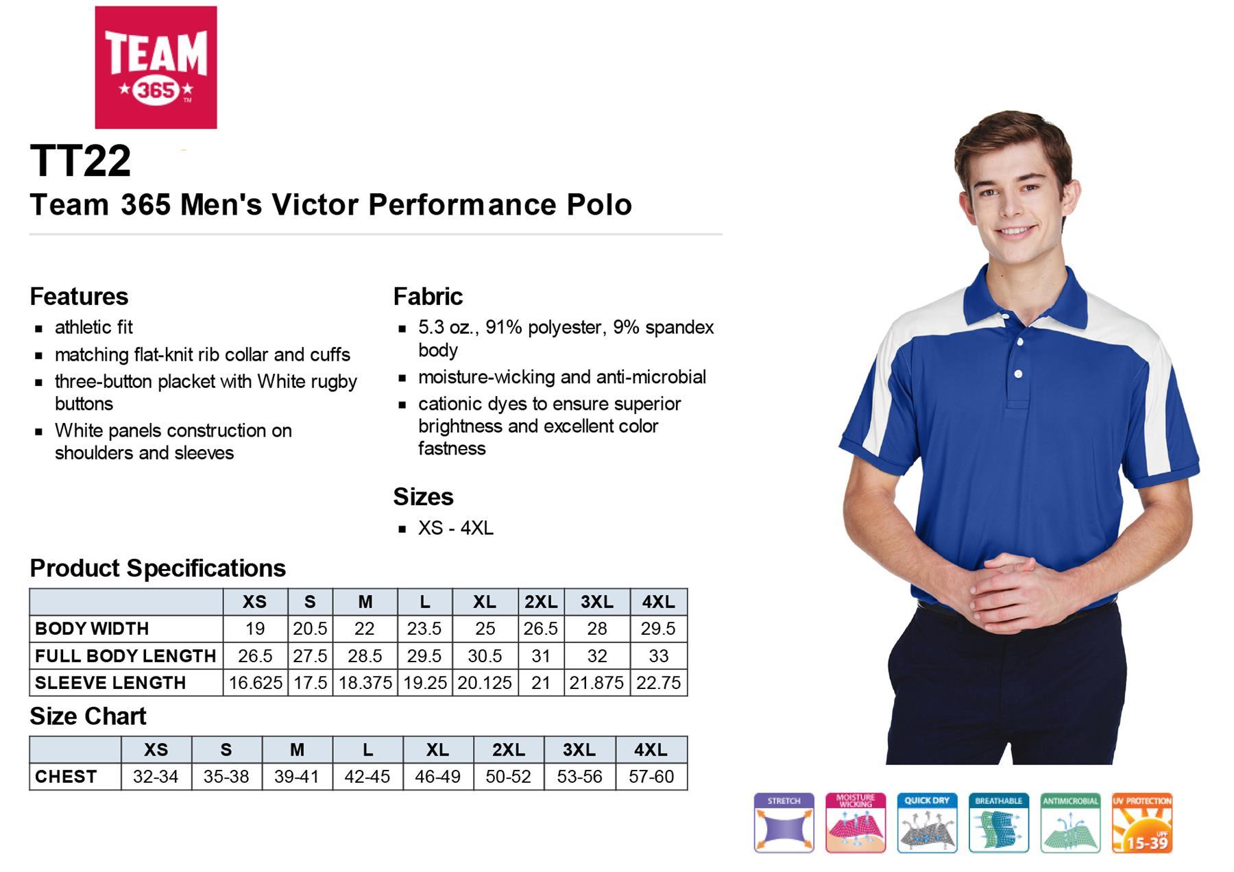 SPORT MAROON Team 365 Mens Victor Performance Polo