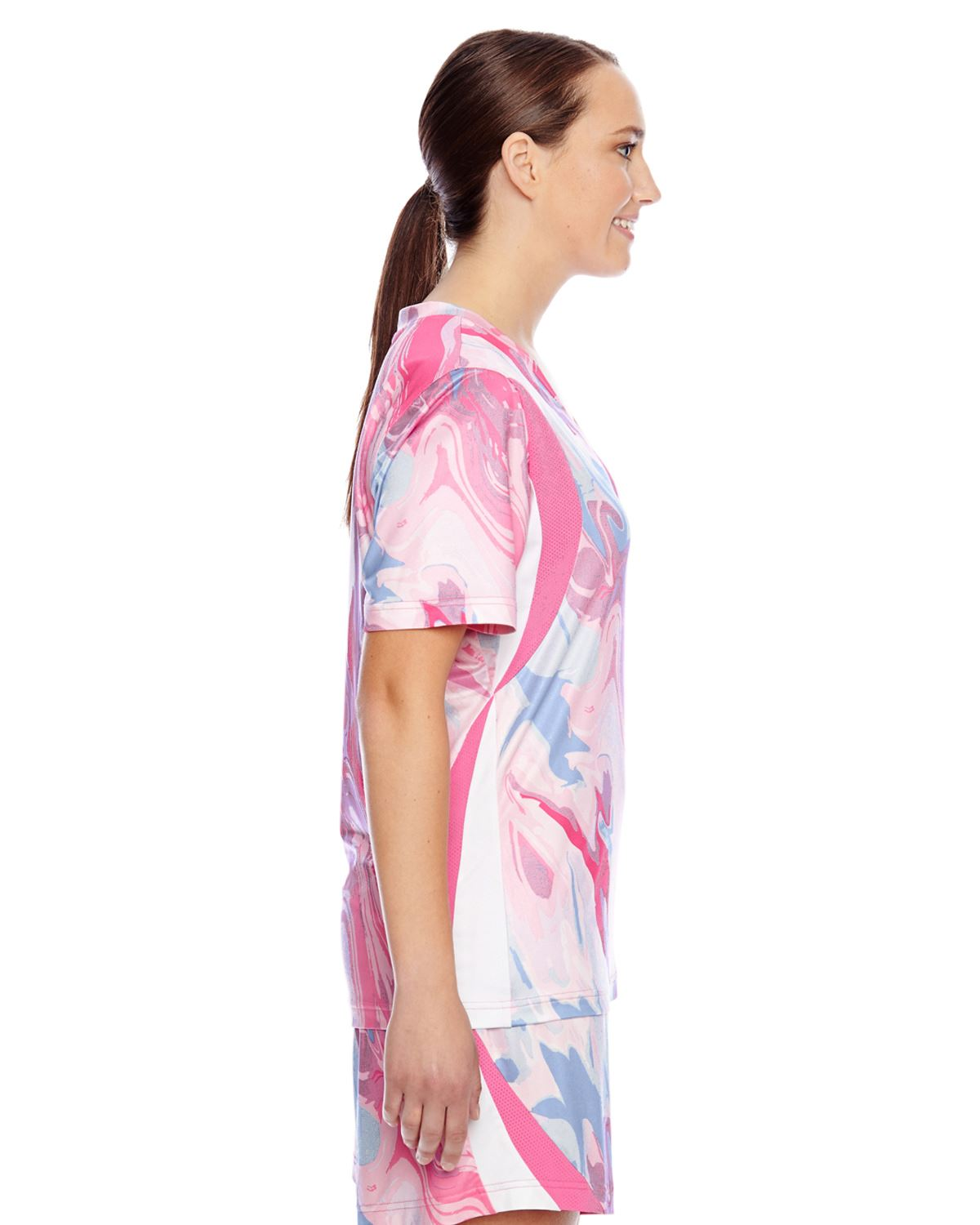 Team 365 Ladies V-Neck Sublimated Pink Swirl Jersey