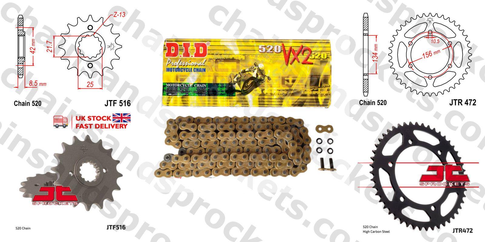 Kawasaki KR250 C2-3 KR1-S 90-92 DID 520 Pitch 108 Link Chain
