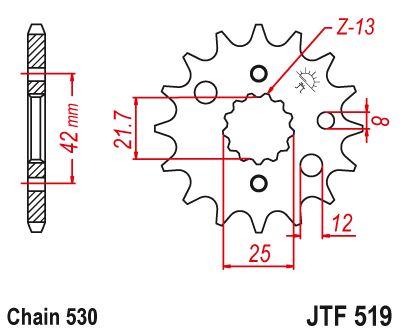 ZX600D1-D3 90-92 JT Front Sprocket JTF519 15 Teeth fits Kawasaki ZZ-R600