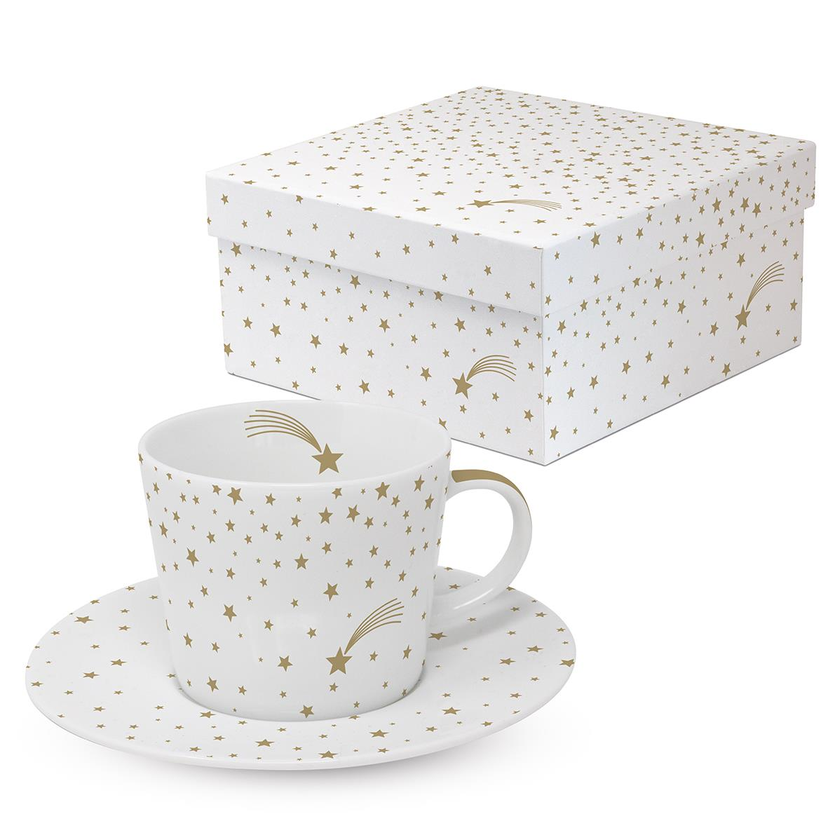 Shooting Star With Gold Design Coffee Cup Saucer Set Gift Boxed By Ppd Ebay