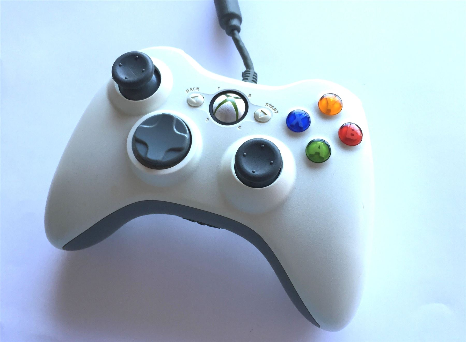 Official Microsoft Xbox 360 Wired White Original Genuine Controller ...