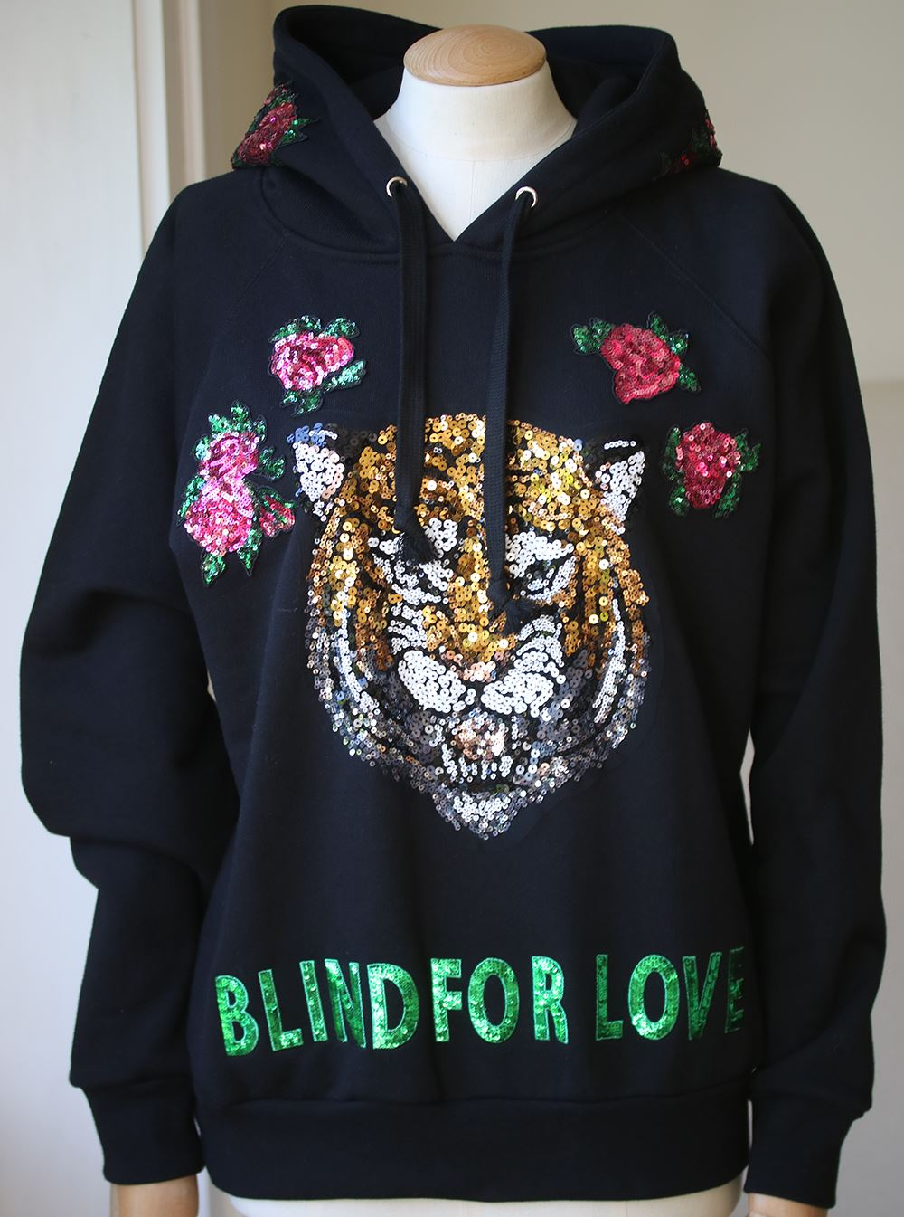 b3018e809d7 Gucci. GUCCI  BLIND FOR LOVE  TIGER EMBELLISHED HOODIE SMALL