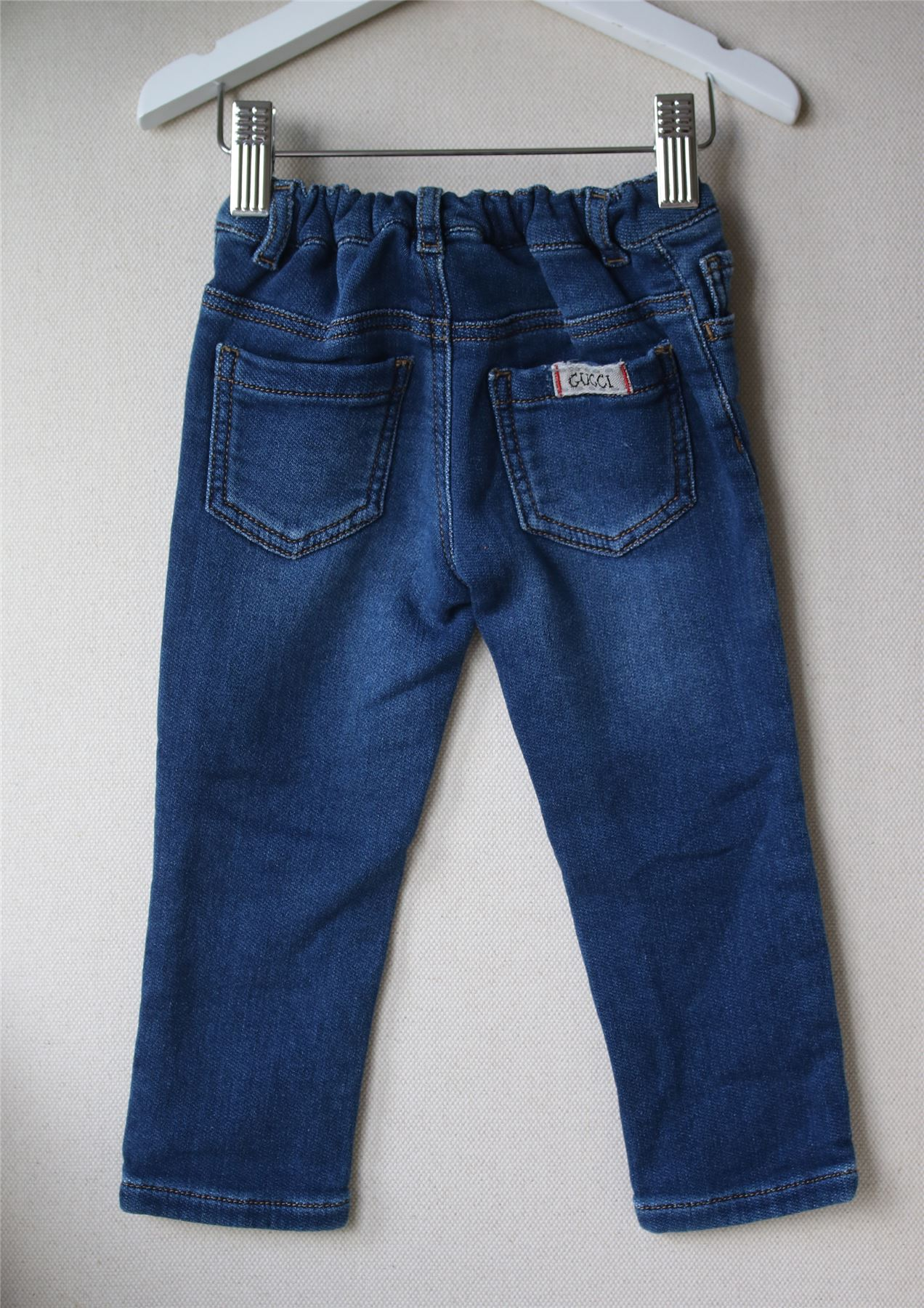 54aa6765a1b9 Details about GUCCI BABY BLUE PATCH JEANS 12-18 MONTHS