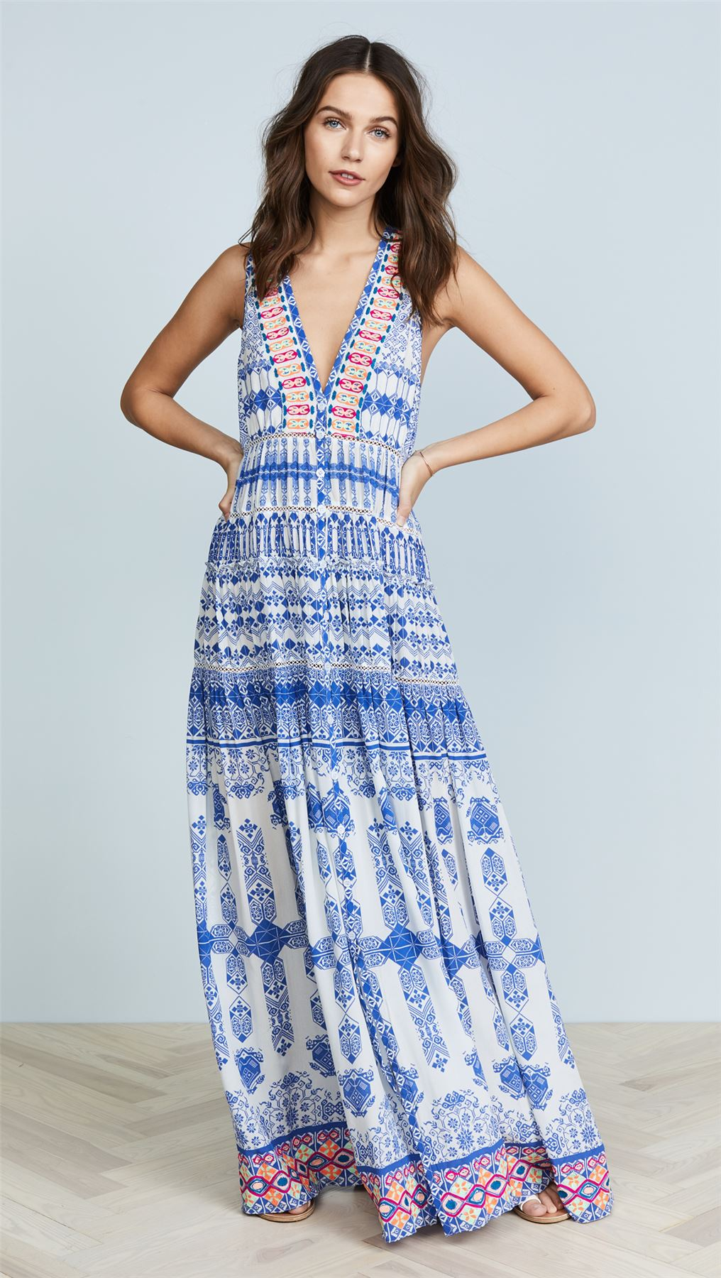 64f55f7bed Details about ROCOCO SAND IONIC PRINTED MAXI DRESS XSMALL