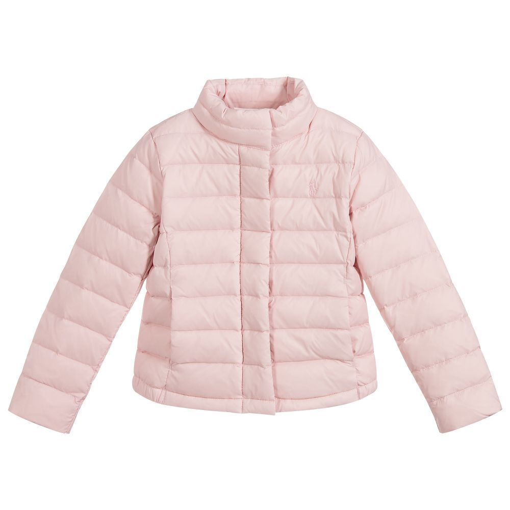 d23c47f4 Details about POLO RALPH LAUREN GIRLS PINK DOWN PADDED JACKET 4 YEARS