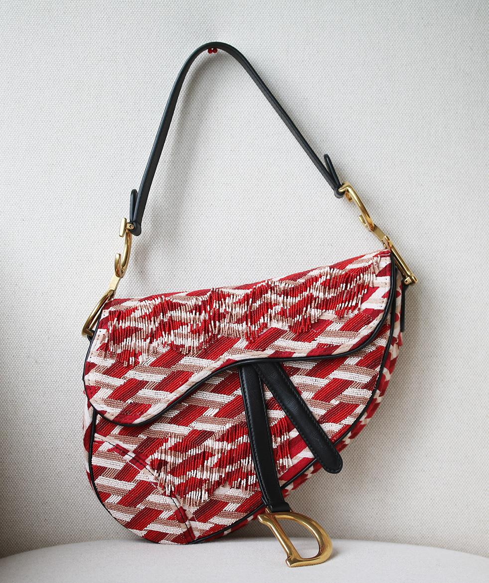 0c65a623f0 Dior. CHRISTIAN DIOR MEDIUM SADDLE BAG EMBROIDERED WITH BEADS AND FRINGES
