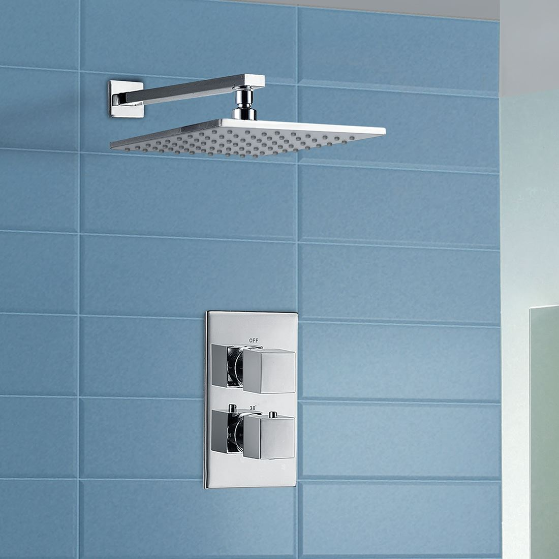 MAXI BATHROOM CONCEALED SQUARE THERMOSTATIC SHOWER MIXER VALVE TAP ...