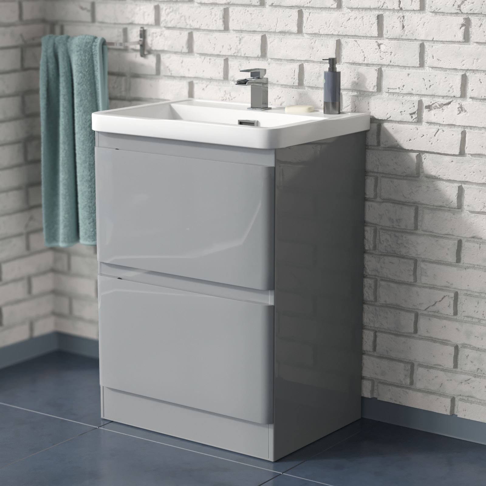 Lakas Freestanding Mdf Bathroom Light Grey 2 Drawer Basin Sink Vanity Unit 600mm Ebay