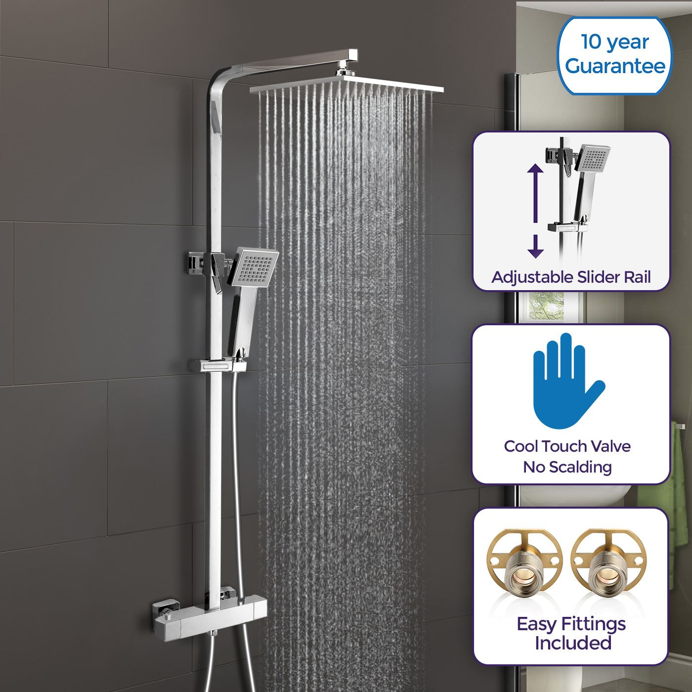 Details About Slim Square Waterfall Overhead Shower Head Cool Touch Thermostatic Mixer Misty