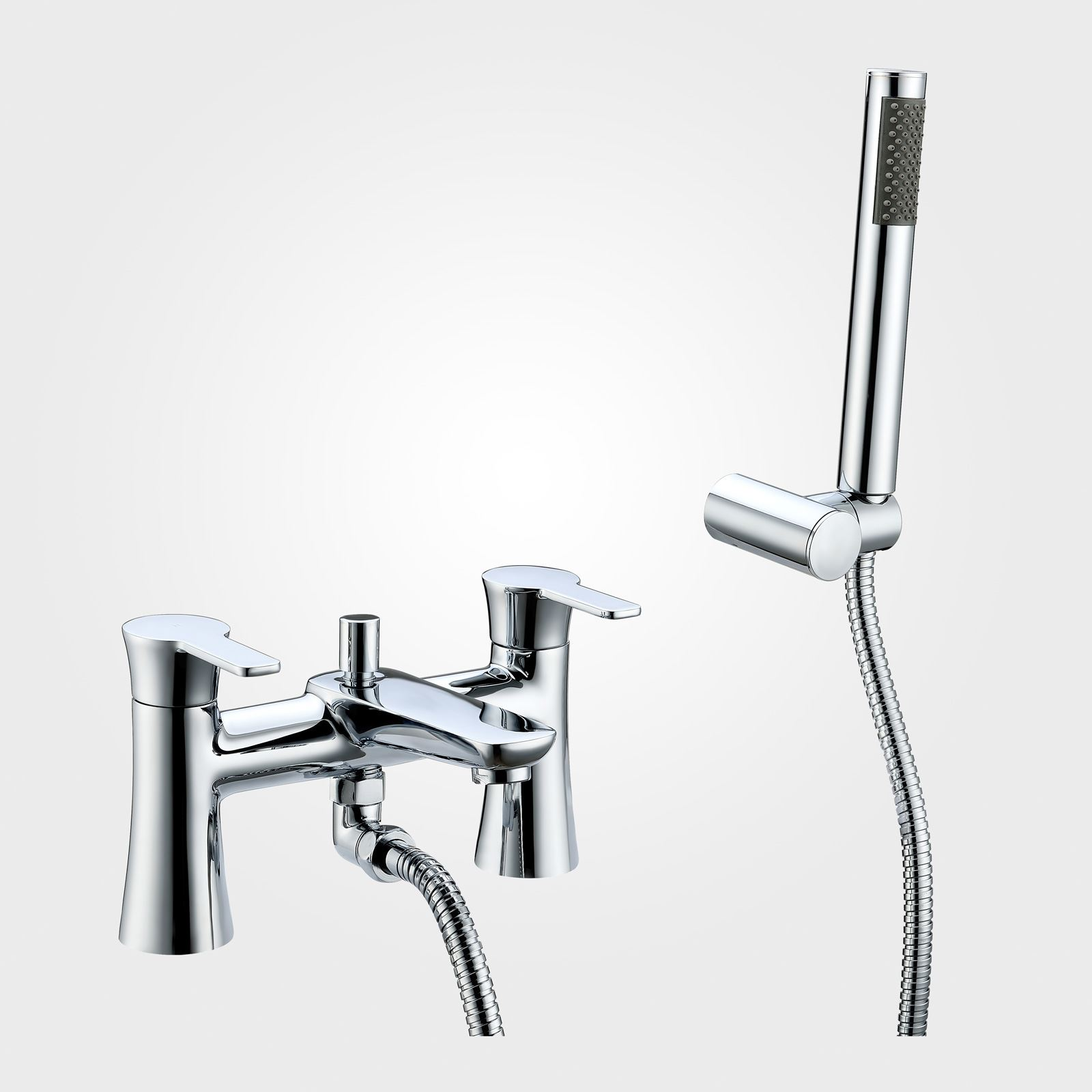 PERTH BATH SHOWER TAP MIXER WITH PENCIL HANDSET AND FIXING ...