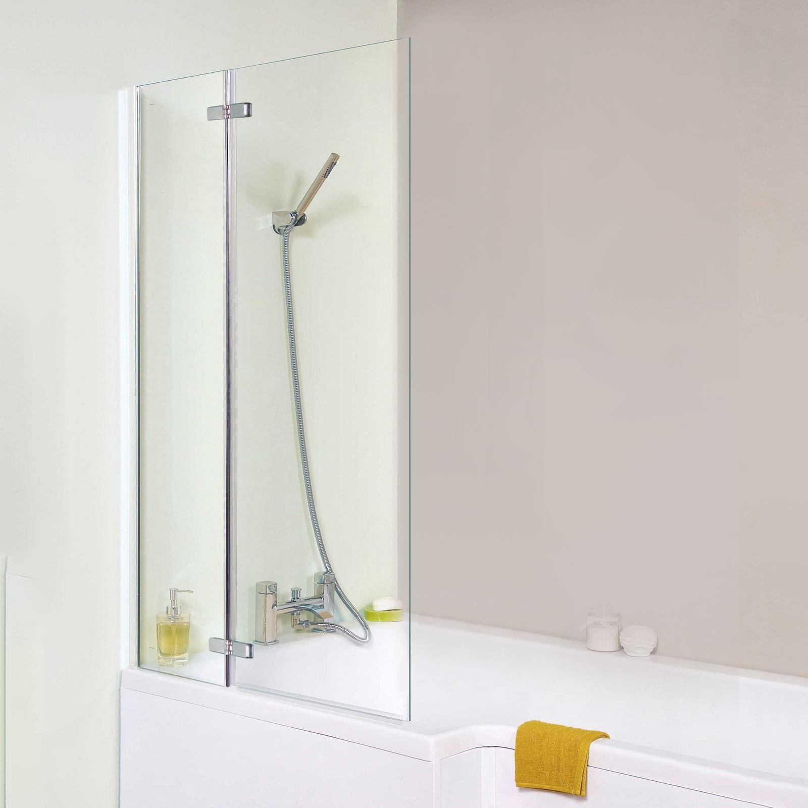 CHROME MODERN BATHROOM 5MM GLASS SQUARE BATH SHOWER SCREEN (800 x ...