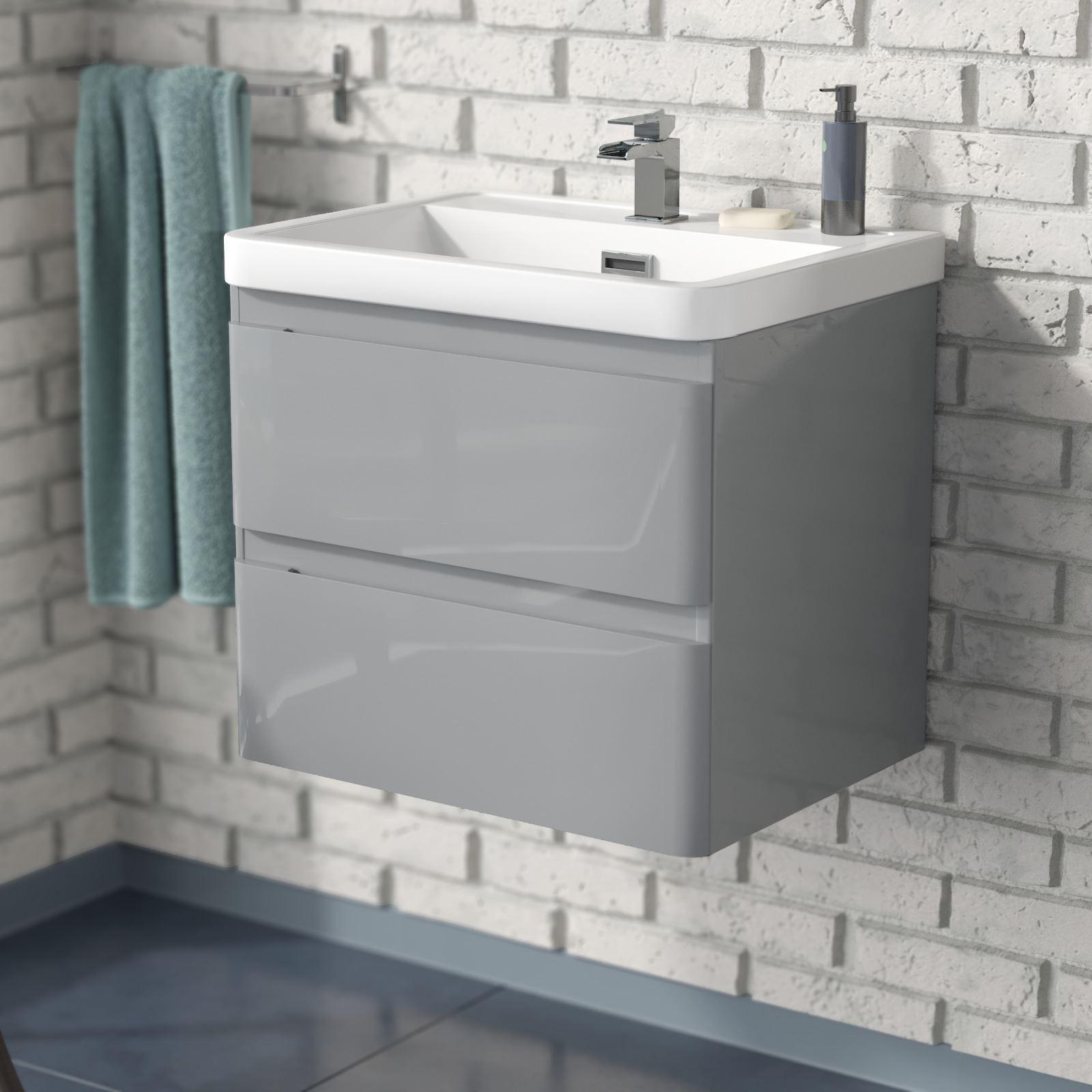 Charta 600mm Bathroom Basin Sink Wall Hung Vanity Unit