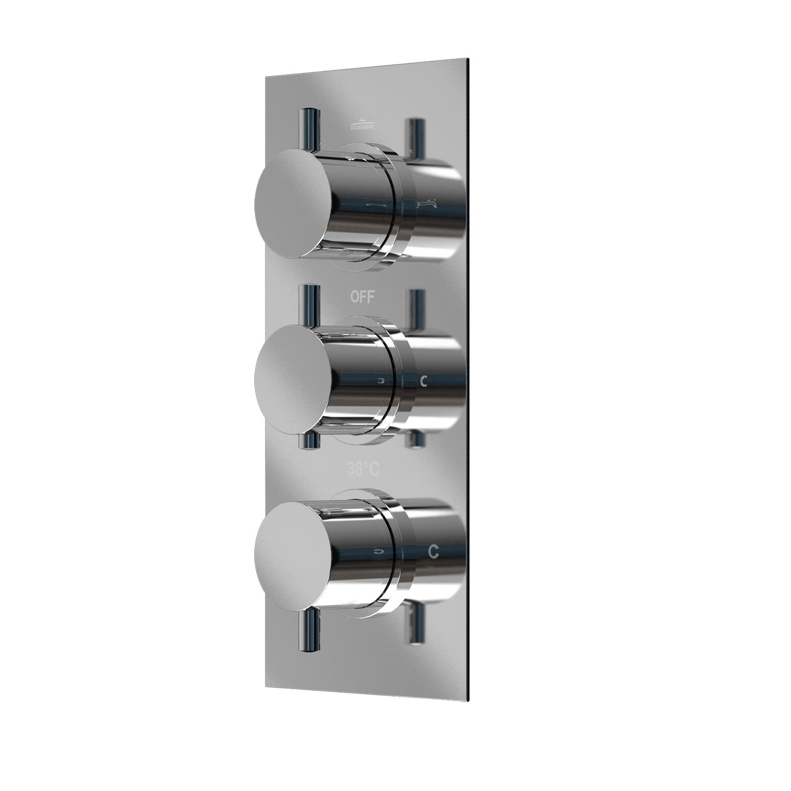 Lilly Square 3 Dial 3 Way Bathroom Concealed Thermostatic