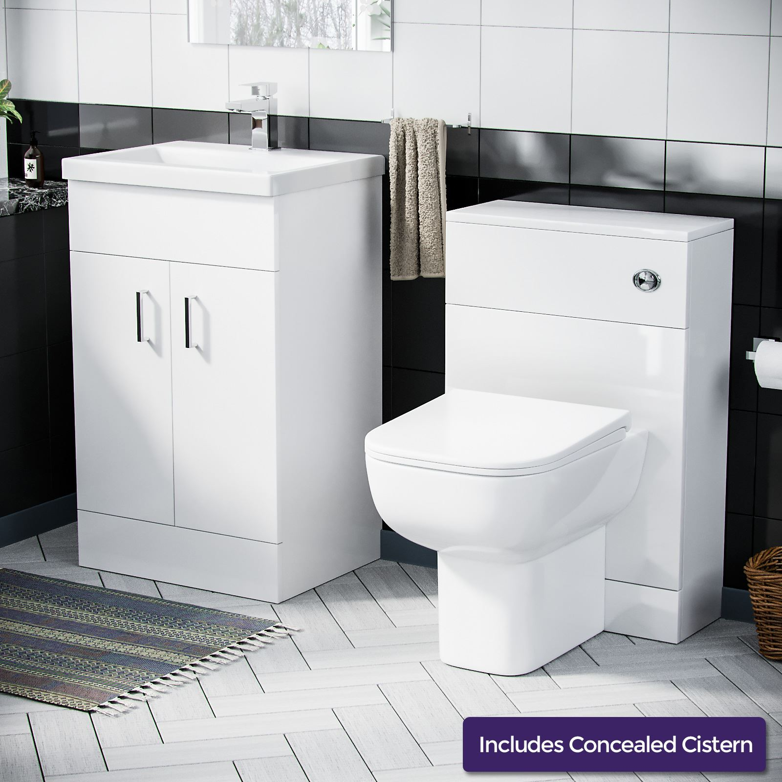 500 Mm Basin Sink Vanity Unit Wc Toilet Pan Cistern Cabinet Suite Ingersly Ebay