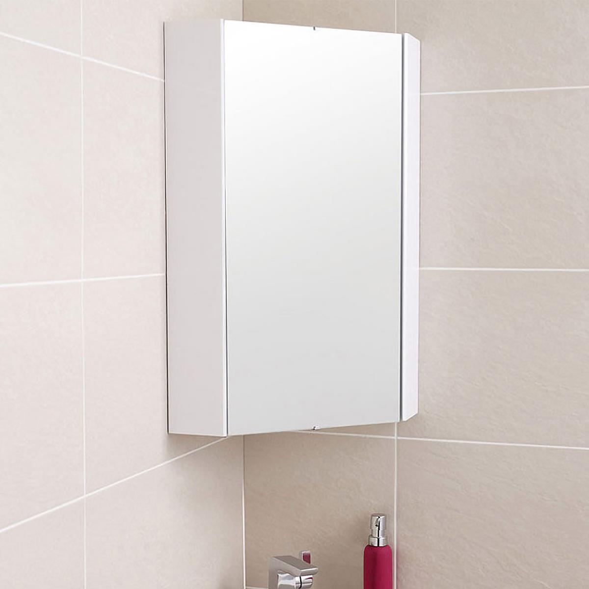324 Mm High Gloss White Corner Mirror Storage Cabinet Ebay