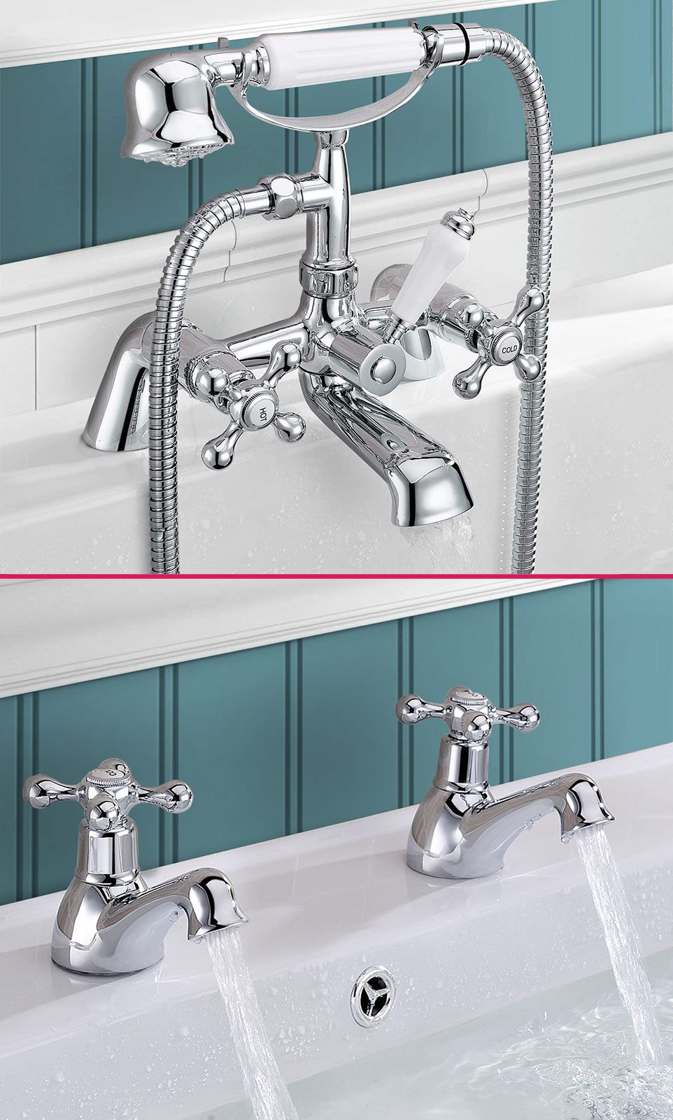 STAFFORD TRADITIONAL CLASSIC BATHROOM BATH SHOWER MIXER AND TWIN ...