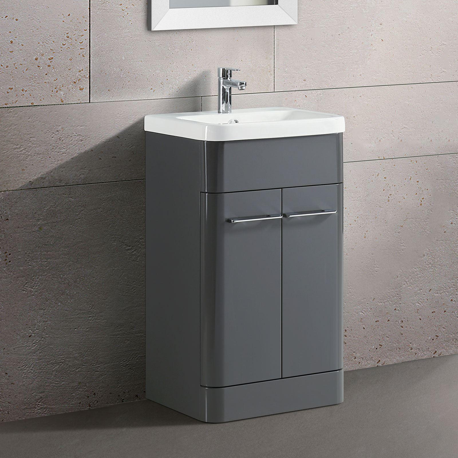 Details about TOREX FREESTANDING BATHROOM VANITY UNIT CERAMIC BASIN CABINET  GLOSS GREY 7mm