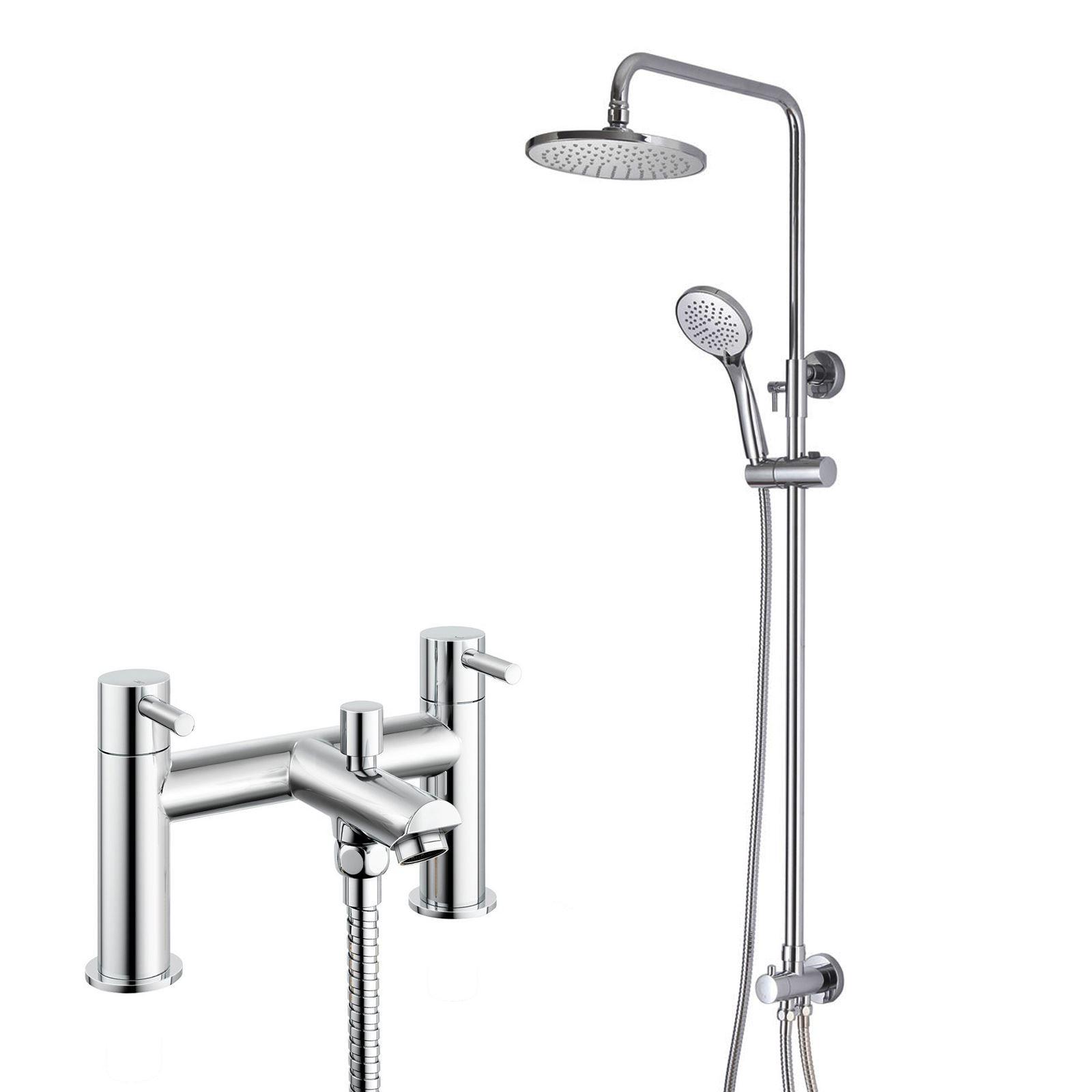 Details About Henley Rainfall Overhead Slider Rail Shower Kit Deck Mounted Bath Shower Mixer