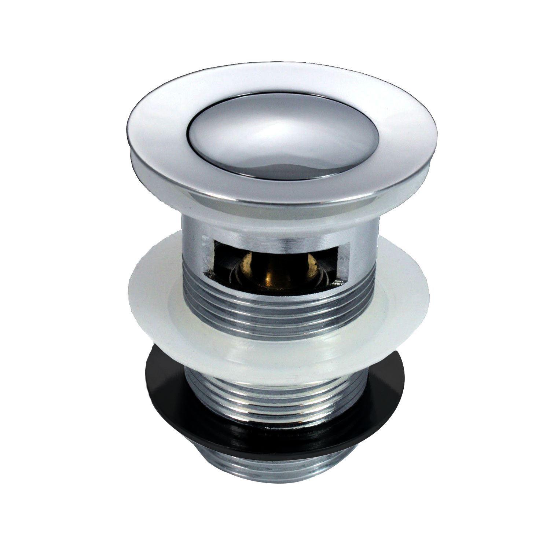 Pop Up Basin Waste Slotted Bathroom Chrome Sink Push Button Plug Silver