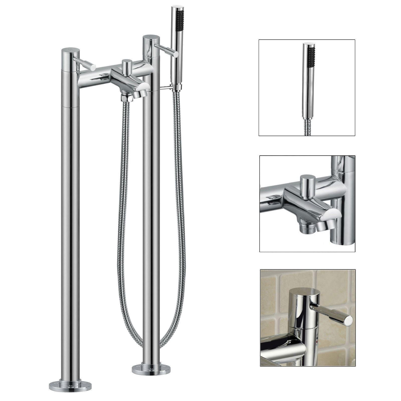 TRADITIONAL FREESTANDING BATH SHOWER MIXER PIPE LEGS CHROME BATHROOM BRASS TAP