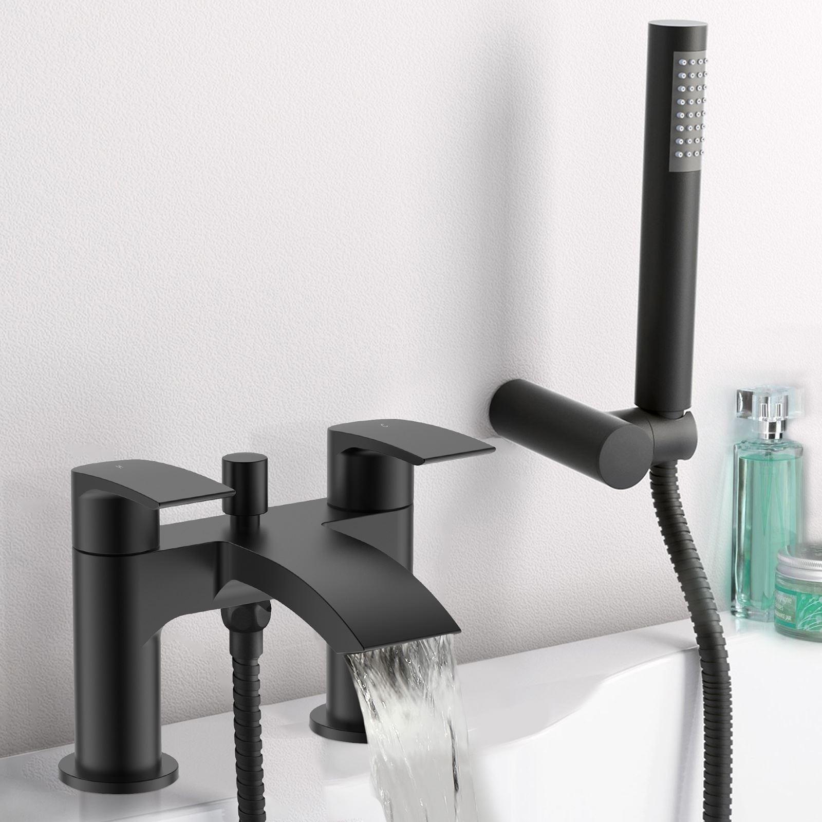 Détails sur Vago salle de bain cascade bain douche mélangeur noir mat  moderne Twin levier robinet- afficher le titre d\'origine