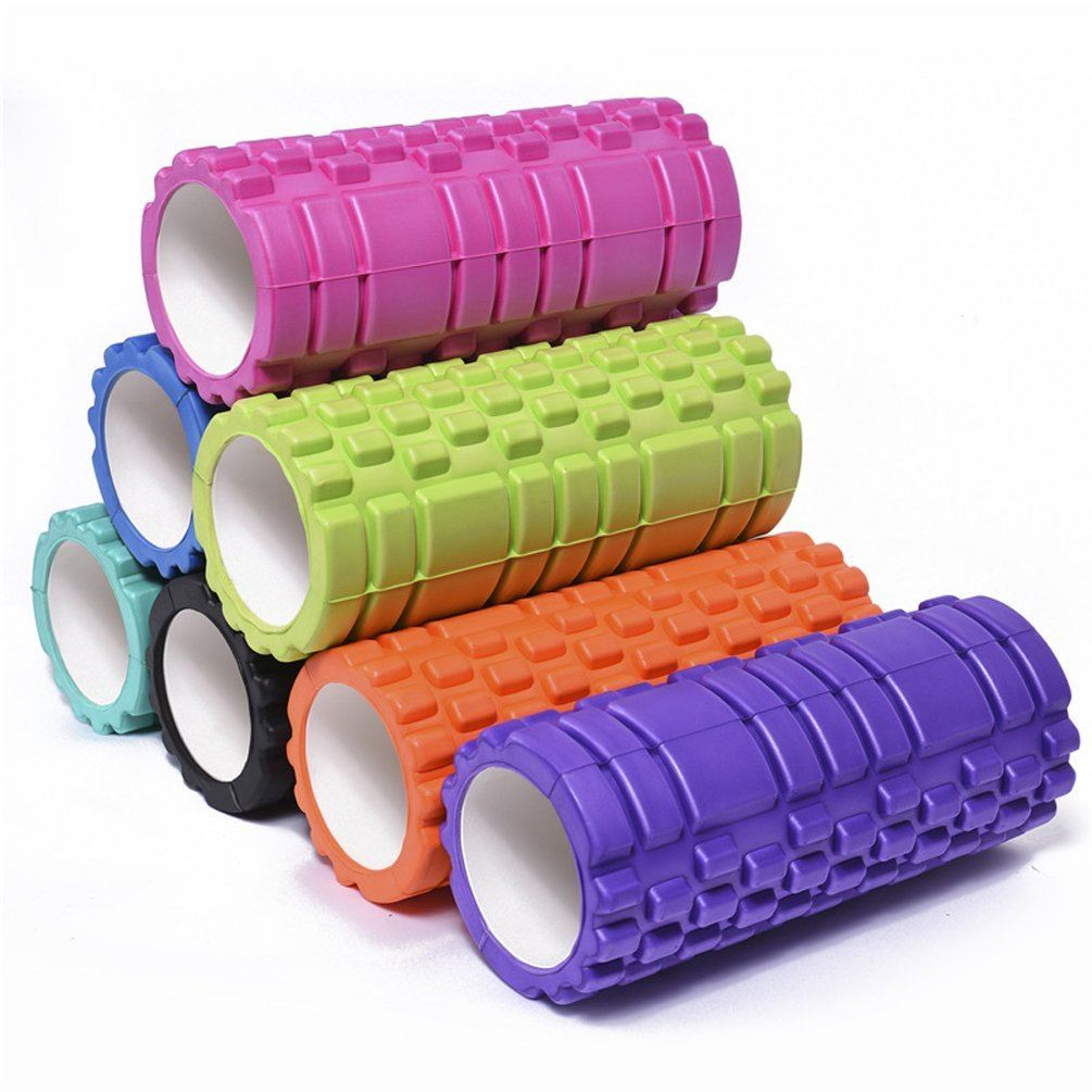 Grid Foam Roller Trigger Point Gym Sports Massage Physio Yoga Roller 33cm Black