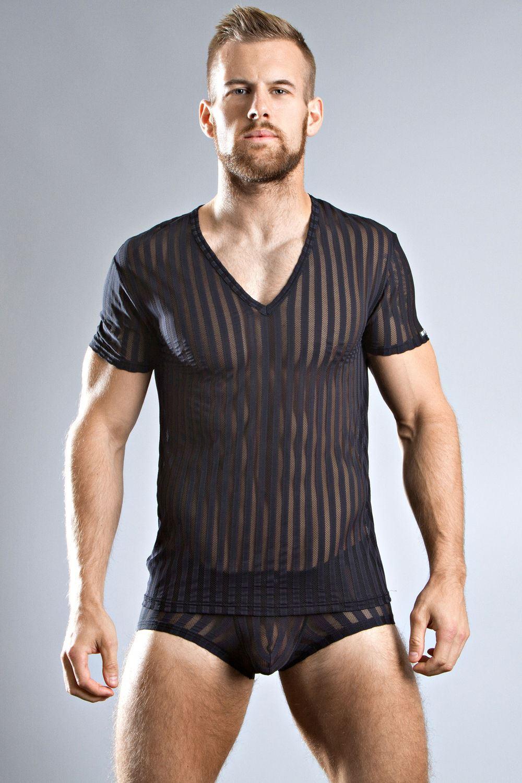 body art sparta v neck t shirt black white striped see