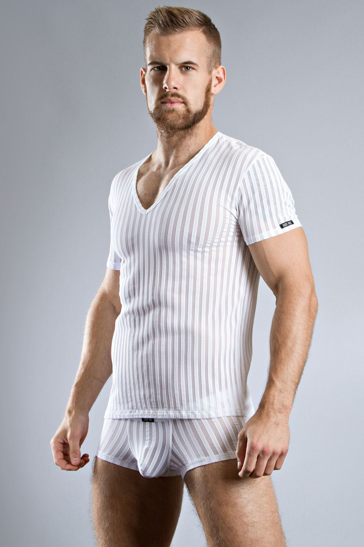 Body art sparta v neck t shirt black white striped see for Best white t shirt mens