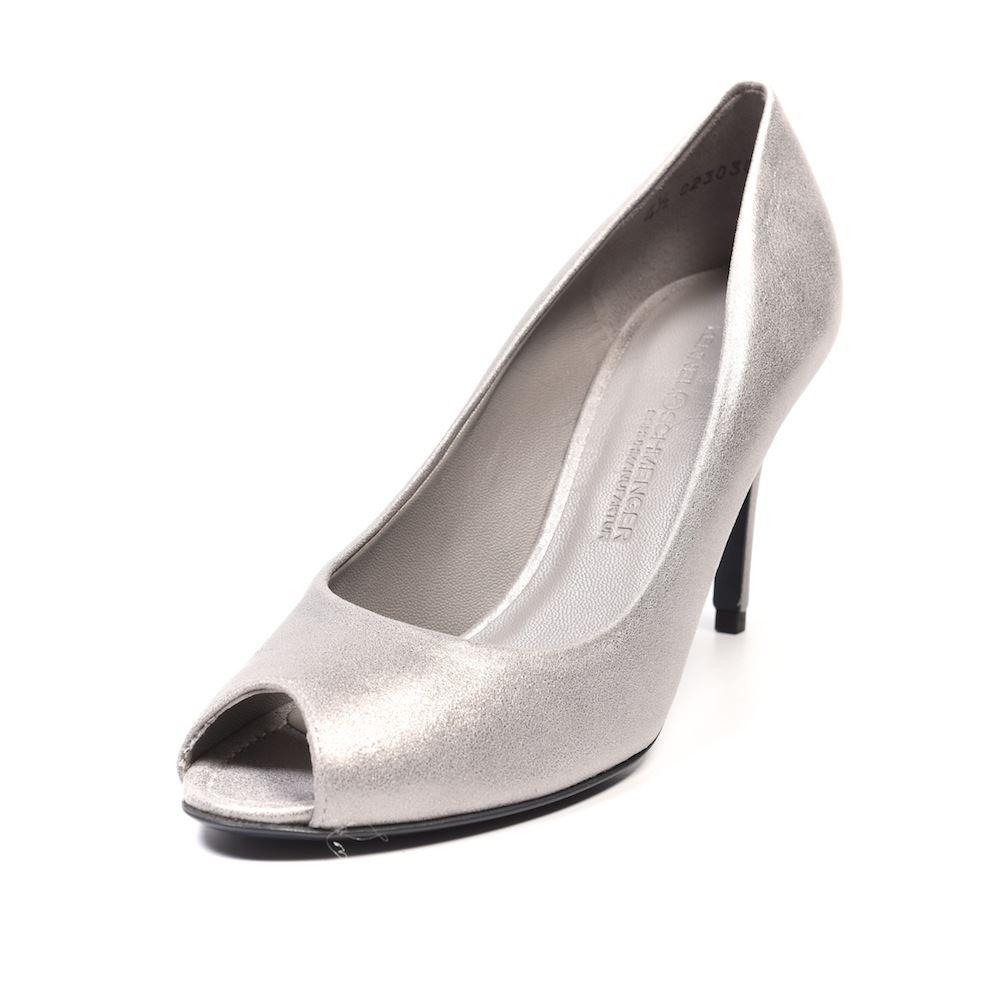 KENNEL Steel & SCHMENGER Peeptoe Shoes Steel KENNEL Silver Leather Size UK 4.5 XA 156 3a6fe5