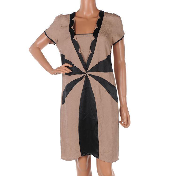 48b0b61b4b Product Description. RUTZOU Dress Dusky Pink Black Pure Silk Shift Size ...