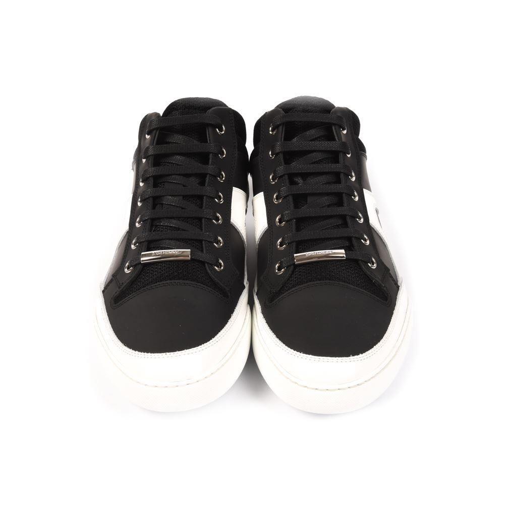 5cdcf12f47 Christian Dior Baskets Noir Blanc en Cuir à Lacets Taille 42 UK 8 AP ...