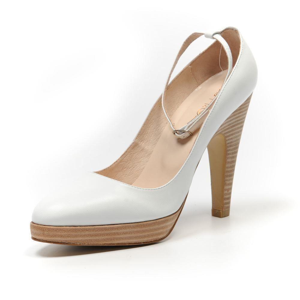 FIONA FIONA FIONA MCGUINNESS schuhe Weiß Leather Heels Größe 37   UK 4 SB 97 6f9334