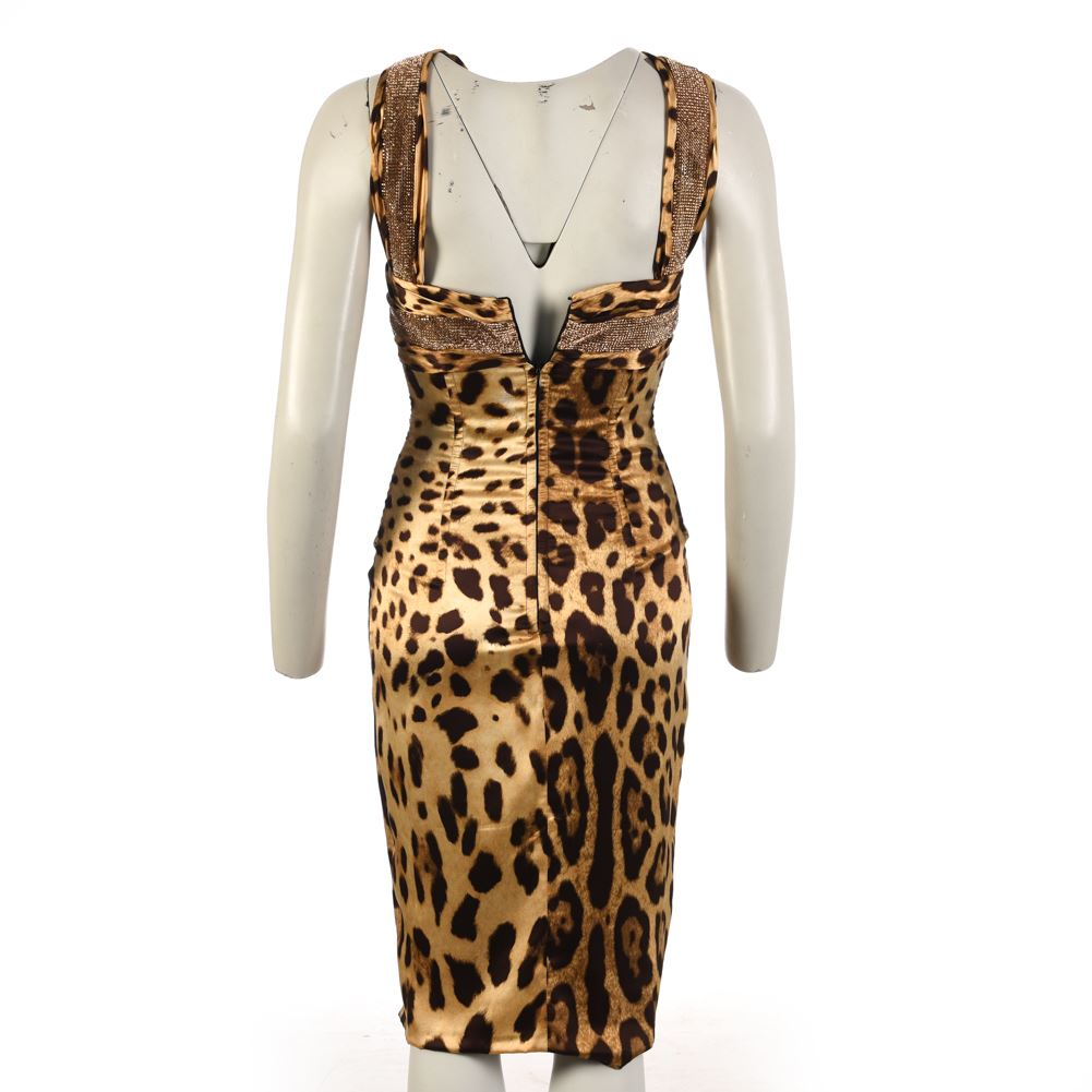 DOLCE-amp-GABBANA-Halterneck-Dress-Brown-Leopard-Print-Size-40-UK-8-WW-554