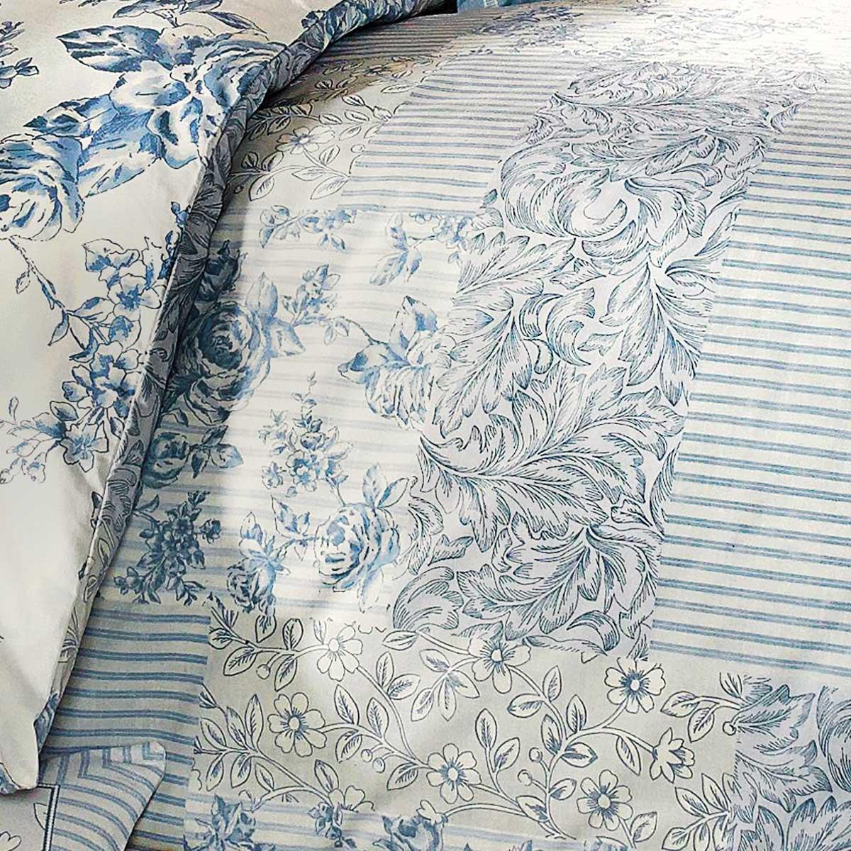 Fundas-de-edredon-azul-con-motivos-florales-Patchwork-Toile-pais-Edredon-Cubierta-de-Lujo-sistemas miniatura 3