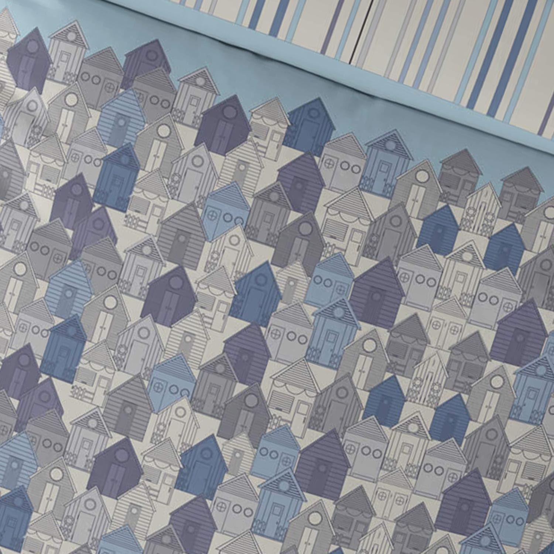 Funda-nordica-azul-azul-marino-verde-azulado-edredon-algodon-estampado-juego-conjuntos-de-cama-cubre miniatura 44