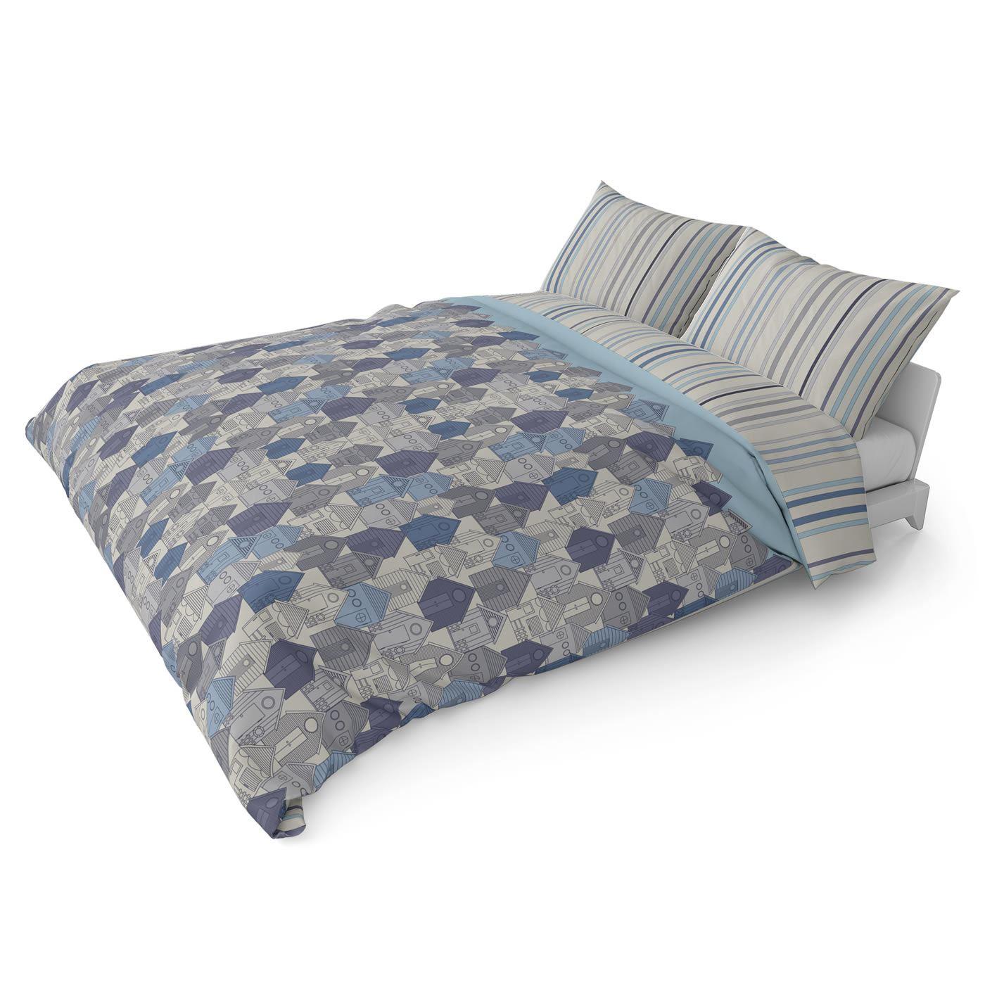 Funda-nordica-azul-azul-marino-verde-azulado-edredon-algodon-estampado-juego-conjuntos-de-cama-cubre miniatura 47