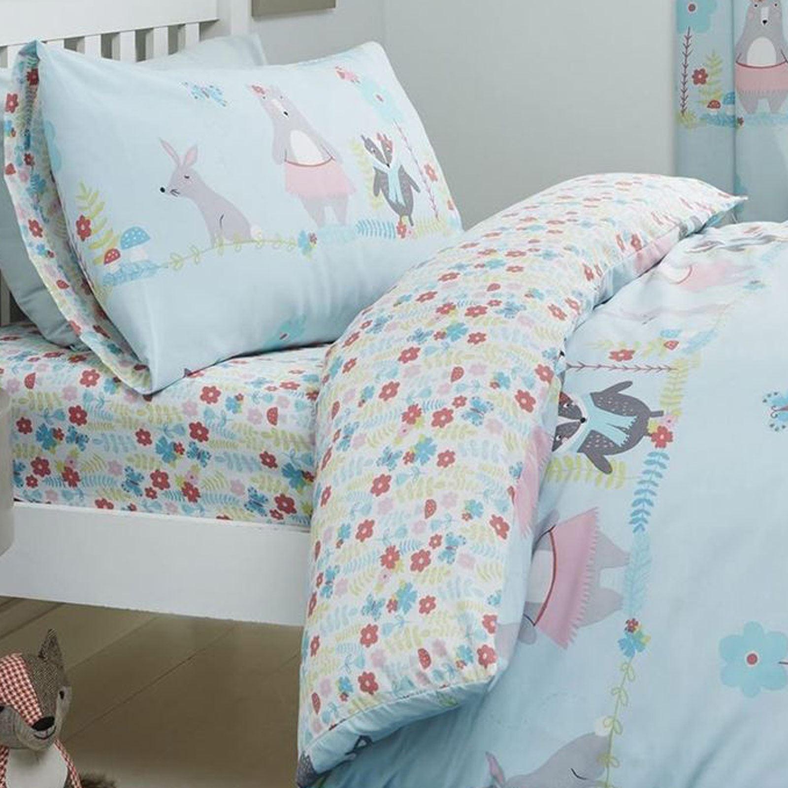 Kids-Duvet-Covers-Blue-Woodland-Animals-Cute-Reversible-Print-Quilt-Bedding-Sets thumbnail 4