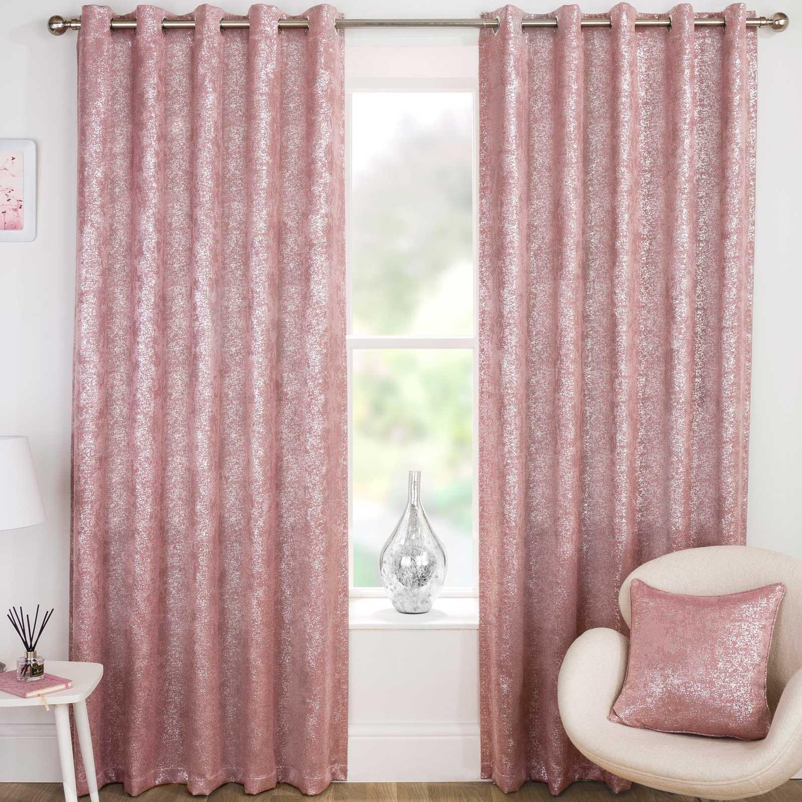Eyelet Curtains Pink Thermal Block-Out Ready Made Ring Top Curtain Pairs UK