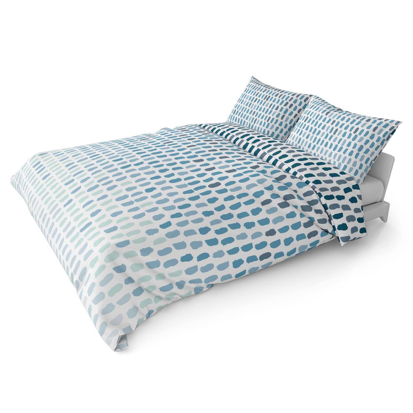 Funda-nordica-azul-azul-marino-verde-azulado-edredon-algodon-estampado-juego-conjuntos-de-cama-cubre miniatura 57