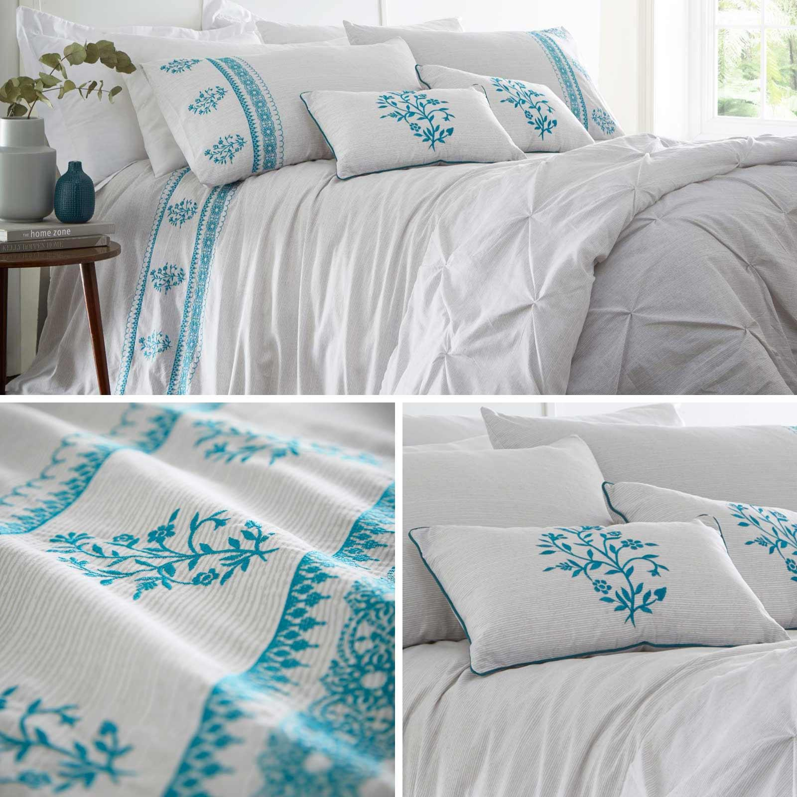 Teal Duvet Covers Floral Embroidered Bohemian Grey Quilt Cover Bedding Sets Ebay