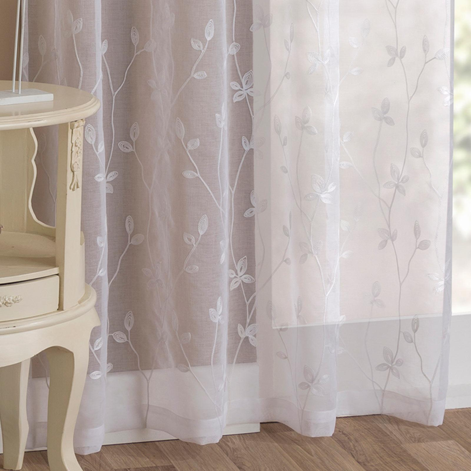 White Voile Curtain Floral Embroidered Slot Top Panels Rod Pocket Sheer Voiles Ebay