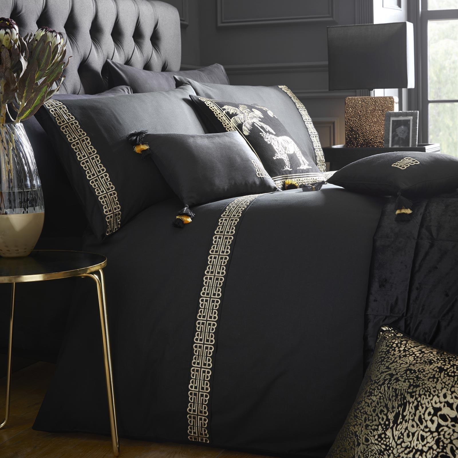 Black Duvet Covers Gold Embroidered Laurence Llewellyn Bowen Luxury Bedding Sets Ebay