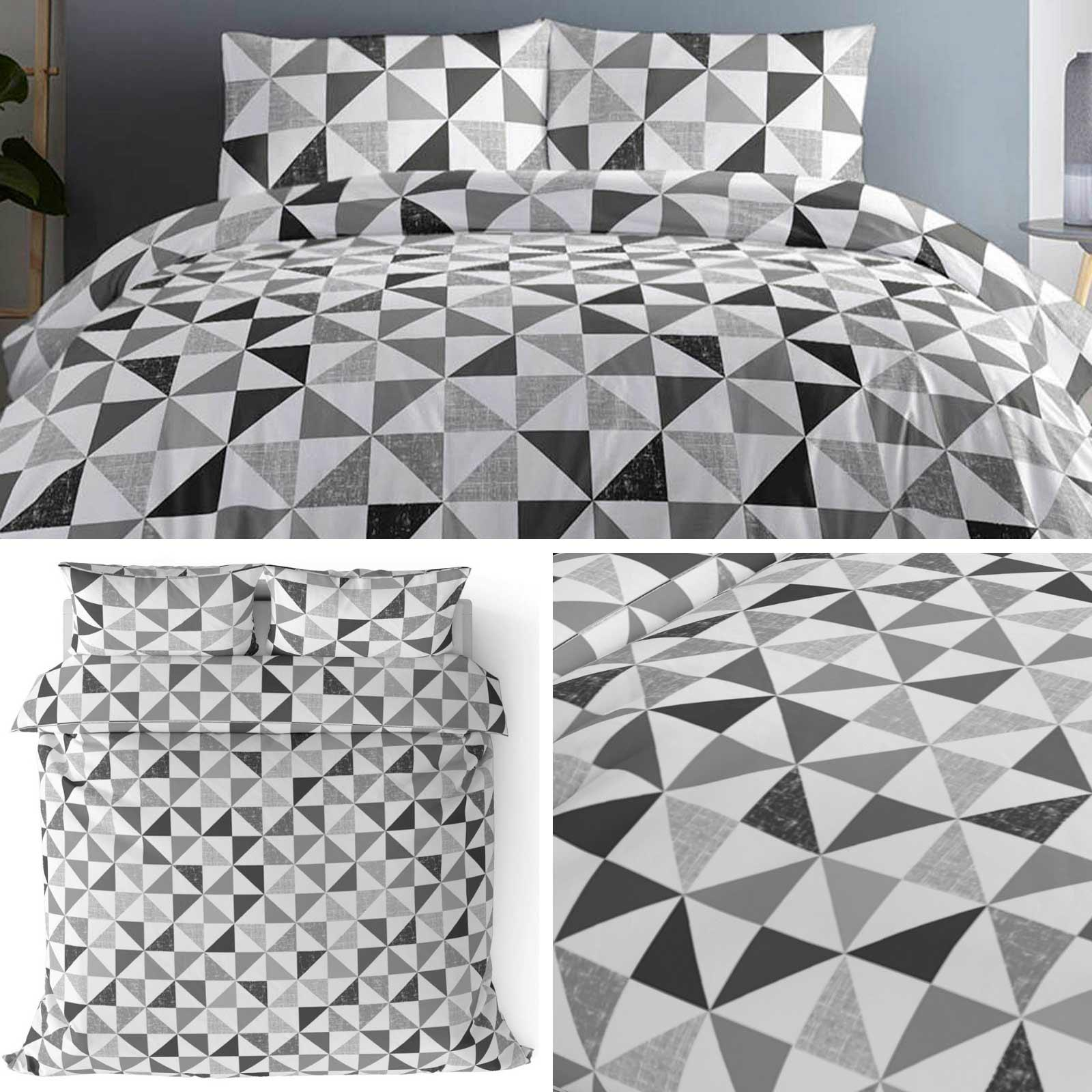 Grey Duvet Covers Geometric Triangles Modern Printed Quilt Cover