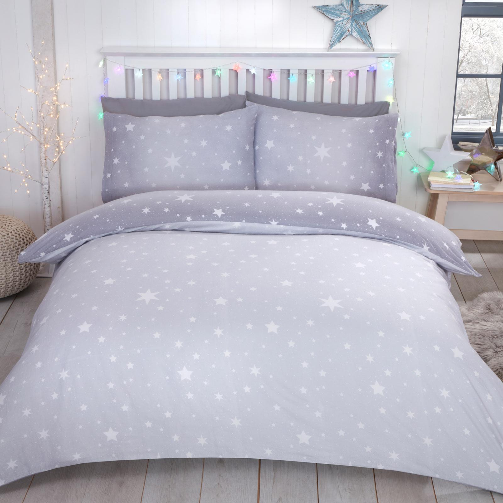 Double, Grey Winter Stag Grey Flannelette 100/% Brushed Cotton Duvet Quilt Cover Bedding Set