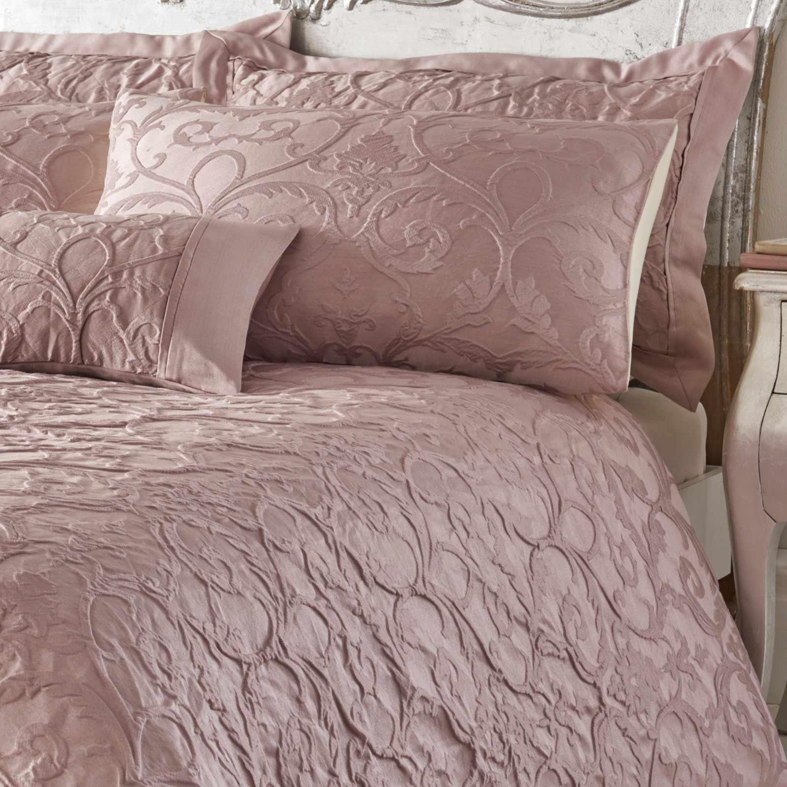 Blush-fundas-nordicas-Rosa-con-Textura-Jacquard-Edredon-Cubierta-de-Lujo-Coleccion-de-ropa-de-cama miniatura 12